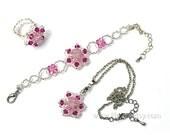 Swarovski Crystal Star shape Pink Beaded Jewelry Set Ring Bracelet Pendant Necklace for girls for teens for sweet 16