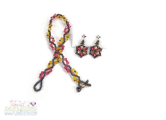 Handmade, One of a kind, Unique, Bead-woven Swarovski Crystal bracelet earrings set