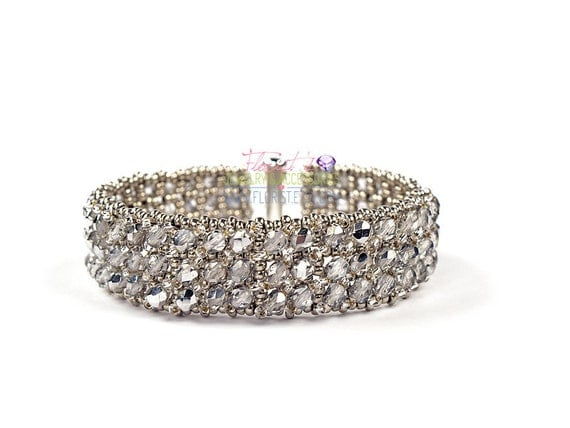Silver Brilliance - Handmade Crystal Bracelet - Sparkling, shiny, gift for Bridesmaids best friend Wife Girlfriend Mothers Sister