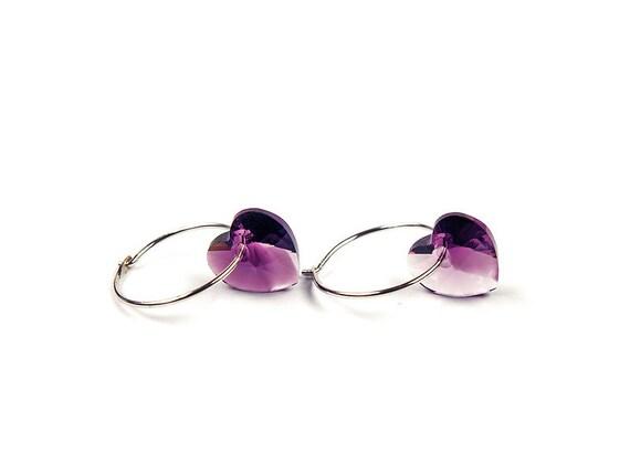 Sterling Silver Hoops Handmade Earrings Swarovski Crystal Heart Pendants Amethyst purple
