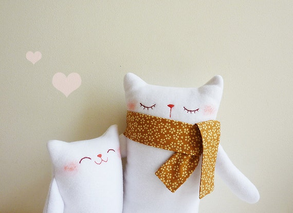 Cat Plush - Mr.White and Baby - Etsy Project Embrace