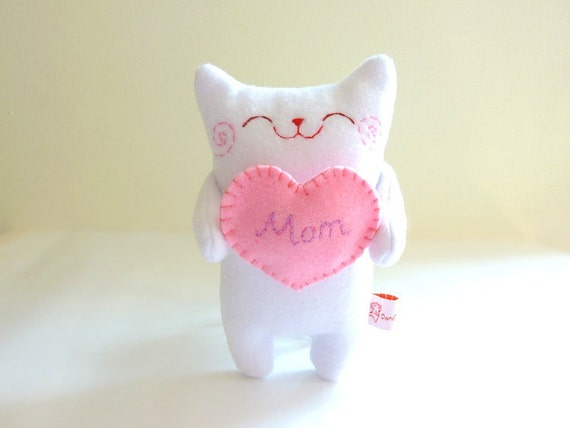 Cat Plush - Kitty with heart - Etsy Project Embrace