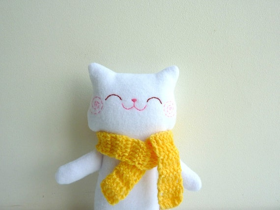 Stuffed Cat, Cat Doll, Cat Plush - Kitty Mimi with Scarf - Etsy Project Embrace