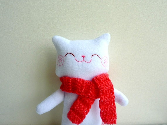 Plush Cat, Stuffed Animal, Cat Plush - Kitty Mimi with Scarf - Etsy Project Embrace