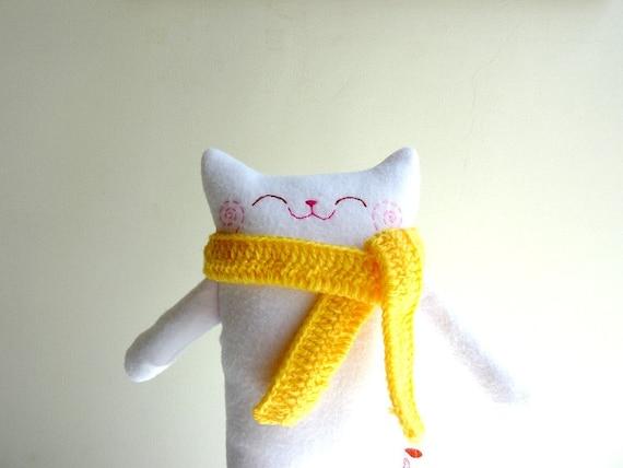 Plush Cat, Stuffed Animal, Cat doll, Cat Plush, Softy - Cat with scarf