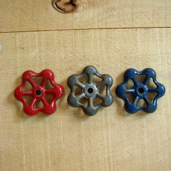 vintage RED, WHITE (silver), BLUE outdoor faucet knobs - perfect for the altered artist - no 129