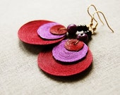 red and purple 3 disc earring with gold