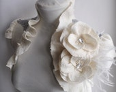 Bolero, Shrug Wedding Felt  /FASHION Philosophy/, Roses, Ostrich Brooch, Silver Embroidery Lace, Couture, US 6 Free Shipping