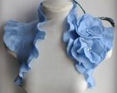 Wedding Shrug, Bolero Felted Roses, Peacock Corsage, Brooch /La MARCHESA / Felted Blue Shrug / US Size 6 /UK Size 10