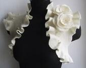 Bridal Shrug, Bolero, Wedding Ivory Bridal Felt Jacket /Absolute ANGEL/, Flower Roses Corsage US 8 Best Seller Fall Fashion,
