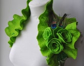 Bolero, Wrap, Capelet, Absinthe, Green Fairy Bridal Felted, LA FEE VERTE Chartreuse,Three Roses, Peacock Corsage Saint Patrick's Day