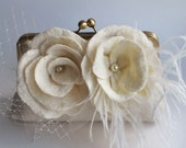 Wedding Clutch, Purse, Bag, Merino/ Silk, Ivory, Two Flowers Ostrich Feathers Veil and Tulle