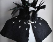 Noir Cape Capelet Cloak Black Goth MAGE NOIR Nuno Felted Pleated Decadent Steampunk Chiffon, Coque Feathers Empress Collar, Rhinestones