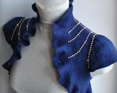 CLEARANCe Bolero, Shrug  Dark Blue Bridal Felted,  /The TREASURy/ US Size6 / UKSize10 FREE SHIPPING