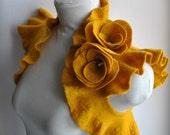 Bridal Shrug Bolero Jacket Gold Felted Bridal Hand Felted,  Roses Corsage in Golden Mustard US Size6/UKSize10 Fall Winter 2011