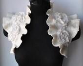 Wedding Bolero, Shrug, Jacket  50% OFF, Nunofelted Cashmere, Merino, Silk /The SPLENDID ALLURE/ Vintage, Victorian Roses, 54 Pearls