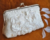 Purse, Clutch, Wedding Bag 30% OFF, Nuno felted Merino,Pure Silk,Victorian Roses, Feathers, Pearls, Ivory, AFFINITY Romantic OOAK TianaCHE