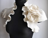 Best Seller Bolero Wedding, 40% OFF, Felt Shrug Flower Roses Corsage, Brooch, Cap Sleeves,  /Princess of Light/