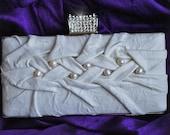 SALE Clutch, Purse Wedding Leather Italian Ivory Lambskin, Baroque Pearls, Luxury, MUSKOVITE TianaCHE