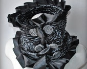 Scarf  CLEARANCE Cowl Collar, Karakul Astrakhan Persian lamb Fur, Felted Loops, Ribbon, Charcoal, Last One  /METAMORPHOSIS/