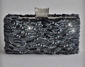 Clutch, Purse Swarovski Fur Swakara Karakul Luxury in Charcoal/Dark Grey, Pearls, Leather and Dupioni Lined, TianaCHE, 2012