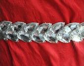 Sash/ Belt Bridal Faux Diamond Rhinestones Leather Luxury, Crystals Beaded, LUXUS 2011-2012,TianaCHE, Ready to Ship