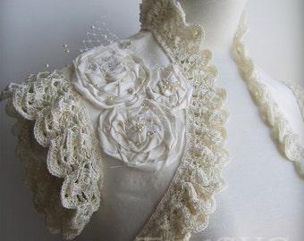 Bolero Shrug Wedding Dupioni Silk Bridal Fiancee, Handmade Silk Crochet Lace /ADOLESCENCE/, TianaCHE, Clearance, Bohemian