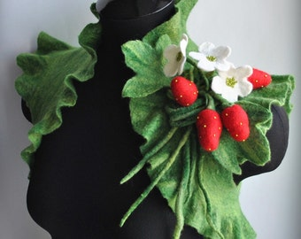 Strawberry Shrug, Bolero, Jacket Bridal Felted Couture, Blossoms Strawberry Corsage /STRAWBERRY FIELDS/ Saint Patrick's Day