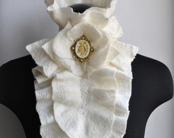 Scarf, Bib, Harness, Jabot, Clearance, Fashion Felted Ivory Merino, Cashmere, Silk BOHEMA , Hand Embroidered CAMEO
