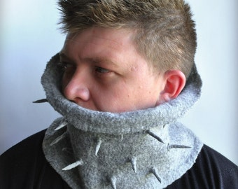 Scarf, Men Gray, Wool Felted, Cowl, Neckwarmer Spikes Spears Eco friendly Urban Military Designer FREE SHIPPING