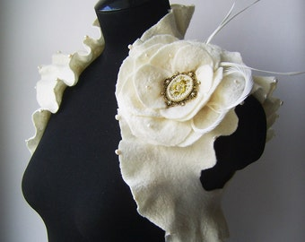 Bridal Wedding Bolero, Shrug Pearls, Cameo Brooch, 50% OFF /LOVE POEM/ Merino, Cashmere, Silk