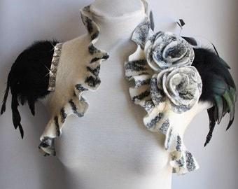 Shrug, Bolero Felt Wedding 50% Off, Black White /SOLDIER of LOVE/ Bridal  Merino/ Silk, Ivory, Flower Roses Brooch, Feathers Sleeves