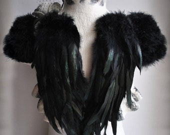 Wedding Felted Bolero, Shrug, Jacket, SWAN LAKE, Wings, Bridal, Merino Silk, Marabou Sleeves