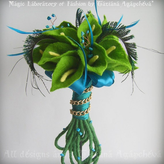 Summer Breeze Lime Green Calla Lilies and Peacock Feathers BRIDAL BOUQUET SET with Turquoise Beads FREE SHIPPING