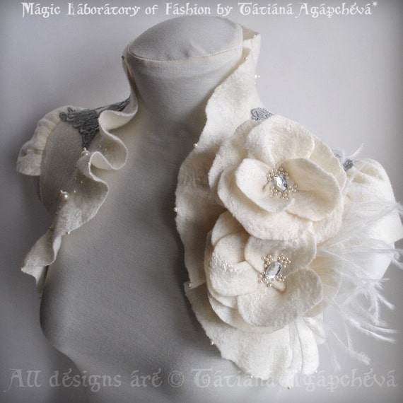 WEDDING Bolero, Shrug Felt  /FASHION Philosophy/, Roses, Ostrich Brooch, Silver Embroidery Lace, Couture
