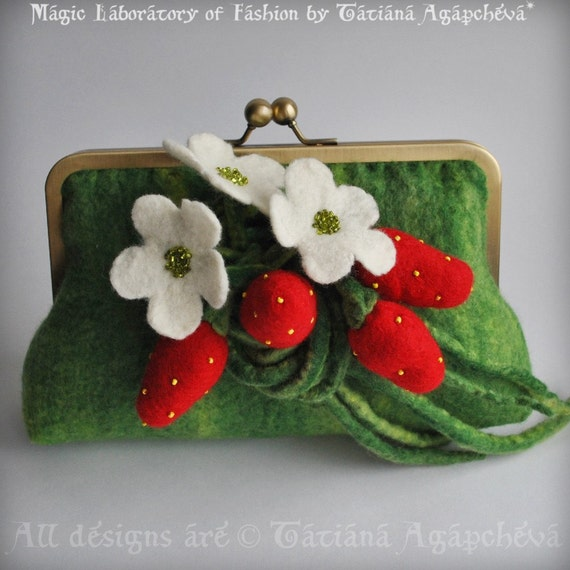 Clutch STRAWBERRY Fields Forever Felted with Strawberry Corsage Saint Patrick's Day