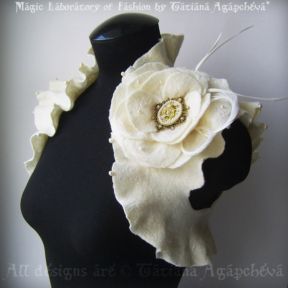 Bridal Wedding Bolero, Shrug Pearls, Cameo Brooch, 50% OFF /LOVE POEM/ Merino, Cashmere, Silk