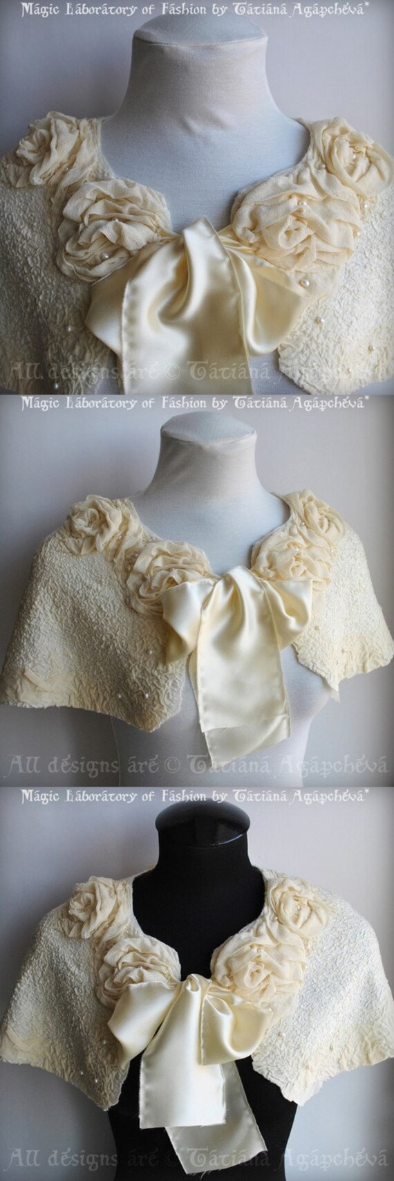 Wedding Capelet, Cape, Shawl, Caplet, 30% OFF, Free Shipping, Merino, Chiffon, Habotai, Charmeuse, Roses, Genuine Pearls, White or Ecru