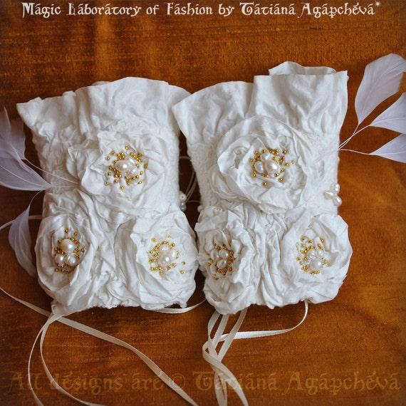 SALE Before 189 Cuffs Wedding Bridal Rare Indian Silk, Merino Sea Akoya Pearls, Couture Romantic Eco Luxury, /BAROCCO/ Ready to Ship