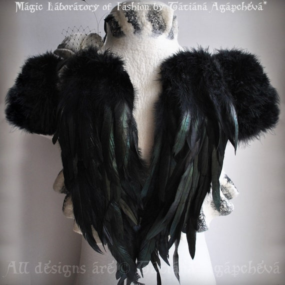 SWAN LAKE Clearance 30% OFF Bolero Shrug Bridal Feathers Wings Wedding Felted Merino and Silk, Roses Corsage / Brooch, Marabou Sleeves