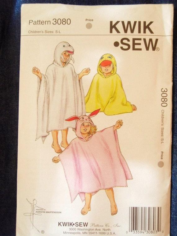 KwikSew 3080, cute kids hooded towels, sewing pattern, UNCUT