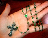 Green upcycled Rosary.