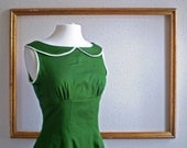 handmade womens clothes with peter pan collar in Moss and mustard- Kelly Style - RESERVED for MARKATE