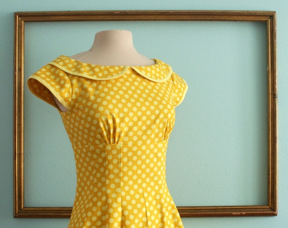 SALE - was 140 - peter pan collar dress with cap sleeves in Yellow polka dot - empire waist dress - MARIE Style