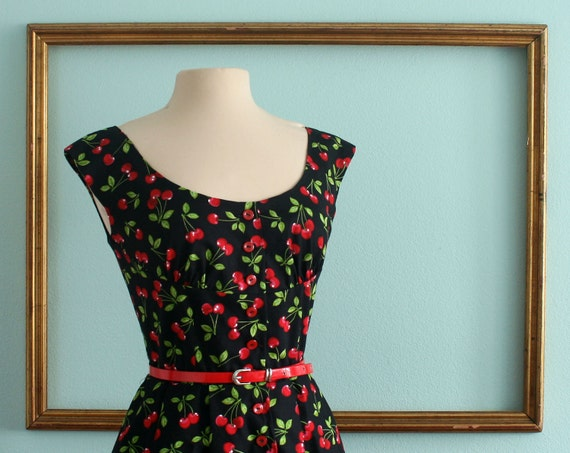 Cherry Print dress SAMPLE SALE scoop neck keyhole back cinched waist button front pleated skirt - MICHELLE style