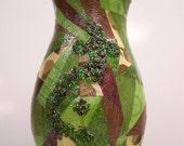 Paper mache decorated green vase