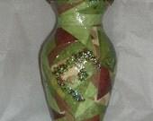 Paper mache green vase