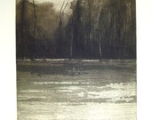 original etching of a landscape,Autumn chills III,hand pulled