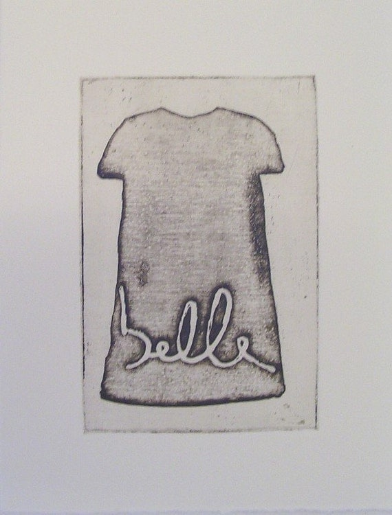 original etching of a dress,hand pulled
