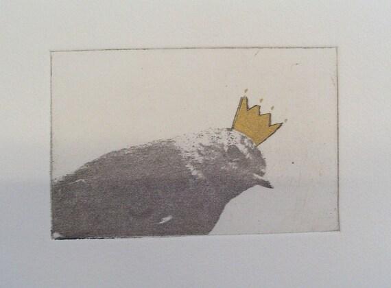 Small original bird etching